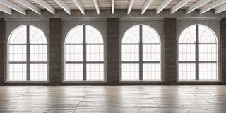 Grande stanza vuota nello stile del sottotetto Immagine Stock