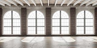 Grande stanza vuota nello stile del sottotetto Immagini Stock Libere da Diritti