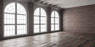 Grande stanza vuota nello stile del sottotetto Fotografie Stock Libere da Diritti