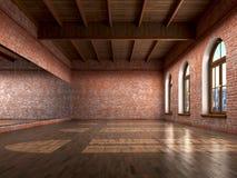 Grande stanza vuota nello stile della fattoria con il pavimento di legno, Fotografia Stock Libera da Diritti