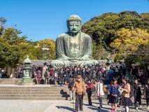 Grande statua Daibutsu di Buddha a Kamakura Fotografie Stock