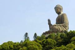 Grande statua di Buddha, isola di Lantau, Hong Kong, spazio della copia Immagini Stock