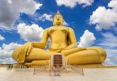 Grande statua dorata del Buddha Immagine Stock Libera da Diritti