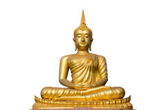 Grande statua dorata di Buddha su fondo bianco Immagine Stock