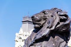 Grande statue de lion à Barcelone, Espagne Photo libre de droits