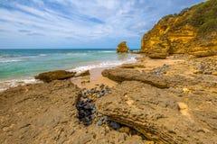 Grande strada dell'oceano: Entrata di Aireys della spiaggia di punto Immagine Stock