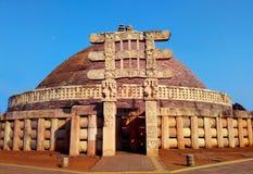 Grande stupa da Índia do sanchi, patrimônio mundial budista dos monumentos fotografia de stock royalty free