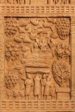Grande Stupa della decorazione dell'ingresso. Sanchi, Madhya Pradesh, India Fotografia Stock