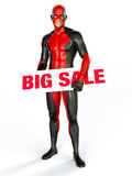 Grande supereroe del segno di vendita illustrazione di stock