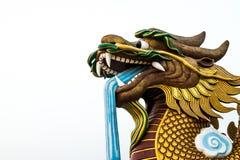 Grande tête de statue de dragon sur le fond d'isolement, Supanburi, Thaïlande Image libre de droits