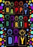 Grande tabellone per le affissioni o decorazione del partito di buon compleanno con le bambole variopinte, hanno lettere separate Fotografie Stock