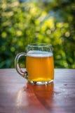 Grande tasse de bière sur la table dehors photo libre de droits