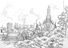 Grande tempio del palazzo della Tailandia dalla vista del tetto Immagini Stock Libere da Diritti