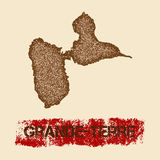 Grande-Terre distressed map. Stock Photos