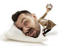 Grande testa sul piccolo ente che si trova sul cuscino royalty illustrazione gratis