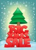 Grande testo di titolo di vendita di natale con l'albero di Natale Fotografia Stock