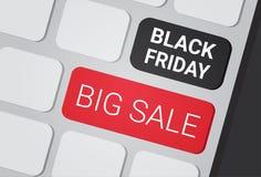 Grande testo di vendita di Black Friday su progettazione di compera del manifesto di sconti dei bottoni della tastiera del comput Fotografie Stock Libere da Diritti