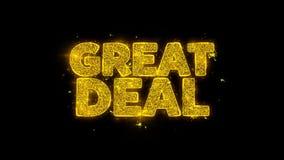 A grande tipografia do negócio escrita com partículas douradas acende fogos de artifício