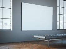 Grande toile blanche dans la galerie avec la chaise longue en cuir Image libre de droits