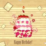 Grande torta di compleanno della fragola Fotografia Stock Libera da Diritti