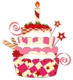 Grande torta di compleanno della fragola Fotografie Stock Libere da Diritti