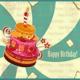 Grande torta di compleanno della fragola Fotografia Stock