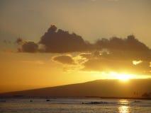 Grande tramonto dell'Hawai Fotografia Stock Libera da Diritti