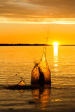 Grande tramonto della goccia di acqua Fotografie Stock