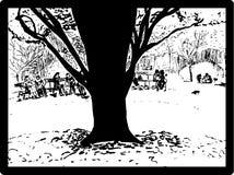 Grande tronco di albero in un parco Immagini Stock