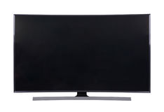 Grande TV menée d'isolement sur le fond blanc Images stock