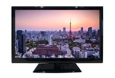 Grande TV principale con la vista di paesaggio urbano isolata su fondo bianco Fotografia Stock Libera da Diritti