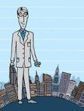 Uomo d'affari nella città con copyspace Immagini Stock Libere da Diritti