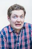 Grande uomo spaventato degli occhi con il ritratto aperto della bocca Fotografie Stock Libere da Diritti