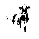 Grande vache noire et blanche à verticale   illustration de vecteur