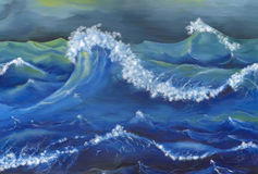 Grande vague bleue en mer illustration stock