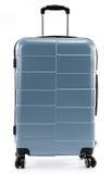 Grande valigia grigia del policarbonato isolata su bianco Fotografie Stock Libere da Diritti