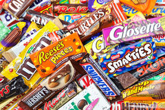 Grande variedade de produtos do chocolate Imagens de Stock Royalty Free