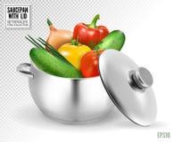 Grande vaso rosso per minestra con le verdure Vettore realistico, illustrazione 3d illustrazione di stock