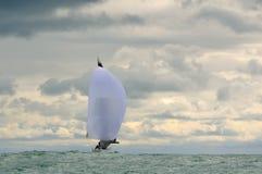 Grande vela bianca con lo spinnaker sopra Fotografia Stock