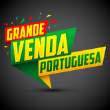 Grande venda Portuguesa - Portuguese big sale portuguese text Royalty Free Stock Photography