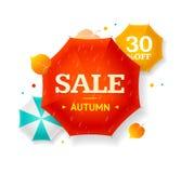 Grande vendita Autumn Umbrella Label Vettore Fotografie Stock Libere da Diritti