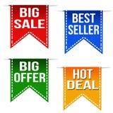 Grande vendita, best-seller, grande offerta e nastri caldi di affare illustrazione di stock