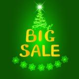 Grande vendita del fondo Illustrazione luminosa nei colori verdi e gialli Illustrazione con i fiocchi di neve Fotografia Stock