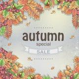 Grande vendita di autunno con l'immagine delle foglie di autunno, delle castagne, delle ghiande e delle bacche del viburno Fotografia Stock Libera da Diritti