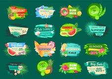 Grande vendita di estate, migliore insieme di etichette di offerta di sconto illustrazione di stock