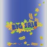Grande vendita Insegna su un fondo blu Modello dell'insegna di vendita di vettore Immagini Stock Libere da Diritti