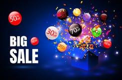 Grande vendita Simbolo di sconto di vendita di offerta speciale con le etichette aperte di flusso e del regalo Di facile impiego  illustrazione vettoriale