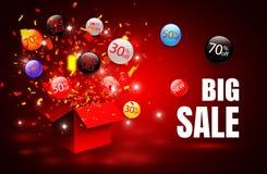 Grande vendita Simbolo di sconto di vendita di offerta speciale con le etichette aperte di flusso e del regalo Di facile impiego  royalty illustrazione gratis
