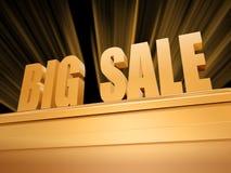 Grande vente au-dessus de pupitre d'or Photo stock