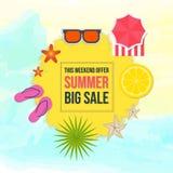 Grande vente d'été sur la forme jaune au-dessus des éléments d'été de vue supérieure de fond d'aquarelle illustration libre de droits